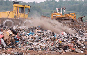 Bulldozers in Landfill